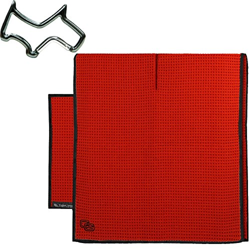 Club Glove Retail Microfiber Tandem golf towel set (Caddy and Pocket Towel) + Towel Ring, - Golf Towel Caddy