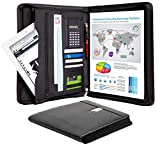Business Portfolio Padfolio Binder – Professional Genuine Leather Padfolio - Zippered Executive Portfolio Organizer, A4 Replaceable Notepad, Calculator, iPad/Tablet Sleeve & Card Holder - eFolio