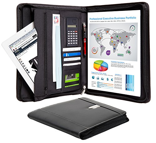 Zippered Calculator Padfolio - Business Portfolio Padfolio Binder – Professional Genuine Leather Padfolio - Zippered Executive Portfolio Organizer, A4 Replaceable Notepad, Calculator, iPad/Tablet Sleeve & Card Holder - eFolio