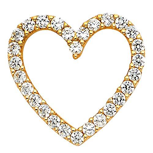 - FB Jewels 14K Yellow Gold Cubic Zirconia CZ Heart Pendant 15mm X 15mm
