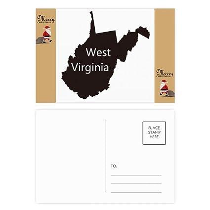 Virginia America USA, silueta de mapa del oeste, tarjeta ...