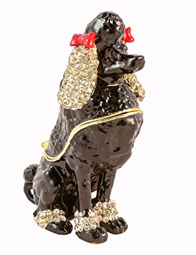 Poodle Trinket Box, Hand Set Clear Swarovski Crystal, Hand Painted Enamel Black with Red Bow, Comes in Beautiful Trinket Box L 2.00 X H 3.25 X W (Red Poodle)