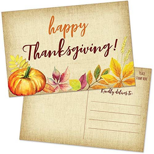 50 Happy Thanksgiving Postcards - 4x6 Burlap Blank Greeting Cards Set for the Fall - Pumpkin and Autumn Leaves Thank You Notes for Business, Family, Thanksgiving Dinner Party Invitations and More