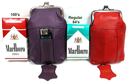 2pc Pair Genuine Soft Leather Cigarette Case 1PURPLE + 1RED Fit 100's King Regular