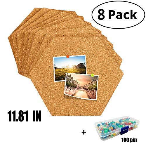 8 Pack (11.8 in) Hexagon Cork Tiles - Cork Board Pin Board, Bulletin Board Pushpin Board, Painting, Photo, Notes, Cork Board 100 pins ()