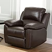 Abbyson Living Bella Leather Recliner in Espresso