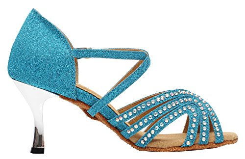 AQQ Latin Dance wedding Salabobo Party Ballroom shoes 6172 Flared Blue Tango Down toe Womens Peep Heel pBwdAx