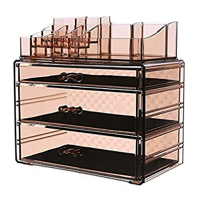 SONGMICS Makeup Organizer 3 Large Drawers Cosmetic Jewelry Storage Display Boxes with 14 Top Compartments 2 Pieces Set Tawny UJMU17T - TAWNY MAKEUP ORGANIZER: Unique tawny color makeup storage organizer matches any decor in your home; checkered design on back adds extra sleek look LARGE CAPACITY : 3 deeper large drawers for large-sized palettes; 14 Top-upper compartments organize all your cosmetics in one place; quickly find what you need and tidy up your dresser STACK AS YOU LIKE: 2 detachable pieces makeup storage cases interlock securely; you can use them separately or stack up for more drawers to extend capacity - organizers, bathroom-accessories, bathroom - 51Zxpv61TWL. SS400  -