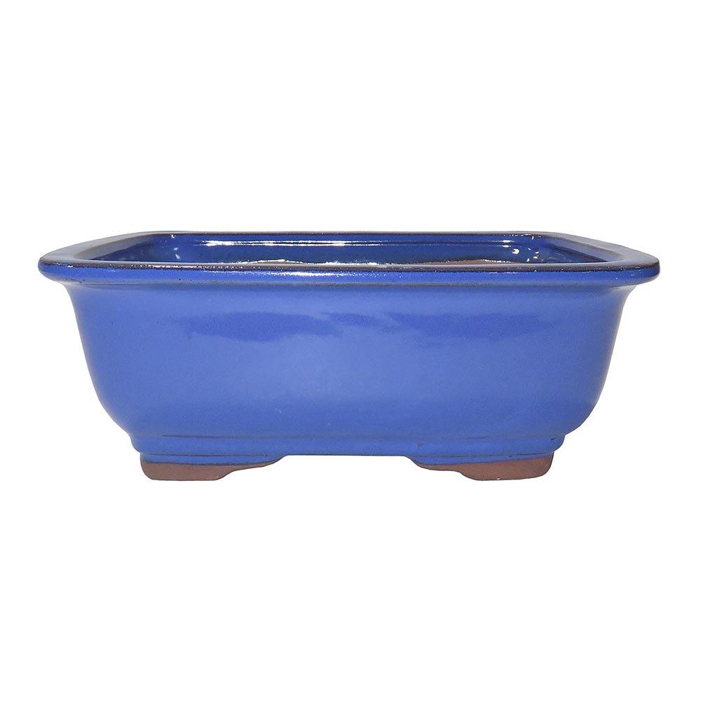Brussel's Bonsai CGG91-8LB Rectangle Bonsai Glazed Ceramic Pot, 8'', Light Blue