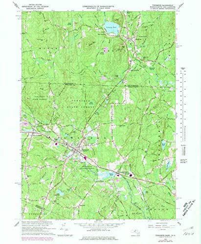 YellowMaps Townsend MA topo map, 1:24000 Scale, 7.5 X 7.5 Minute, Historical, 1965, Updated 1979, 26.8 x 22 in - Paper