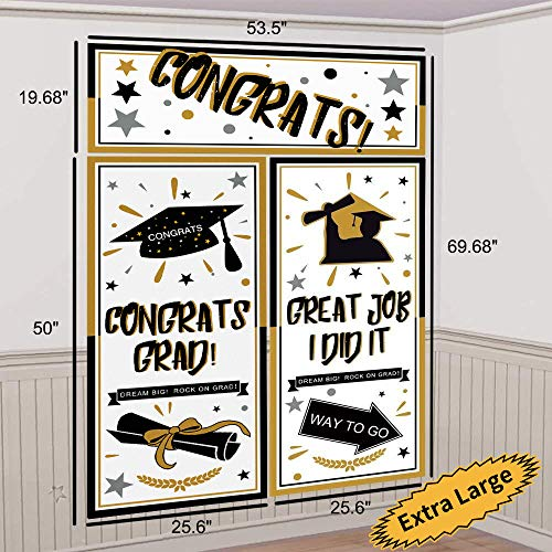 Graduation Backdrop Banner Party Decorations Supplies 2019 - Extra Large Grad Congrats Photo Booth Wall Party Decor (69.68 inches x 53.5 inches) -