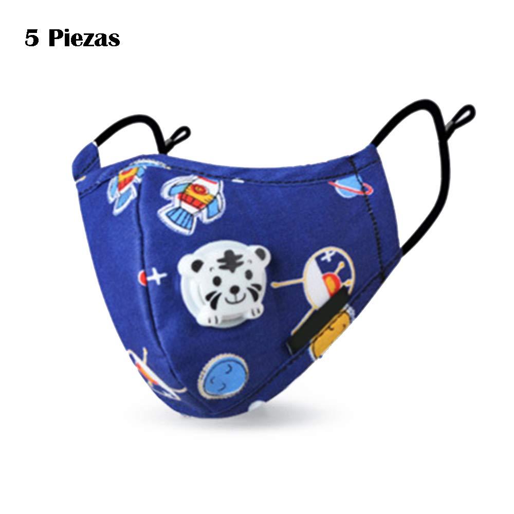 Eon Systems Máscaras de Algodón Para Niños P-M-2.5 Máscaras de Protección Función Adecuado Para Viajes al Aire Libre 5 Piezas(Patrón aleatorio)