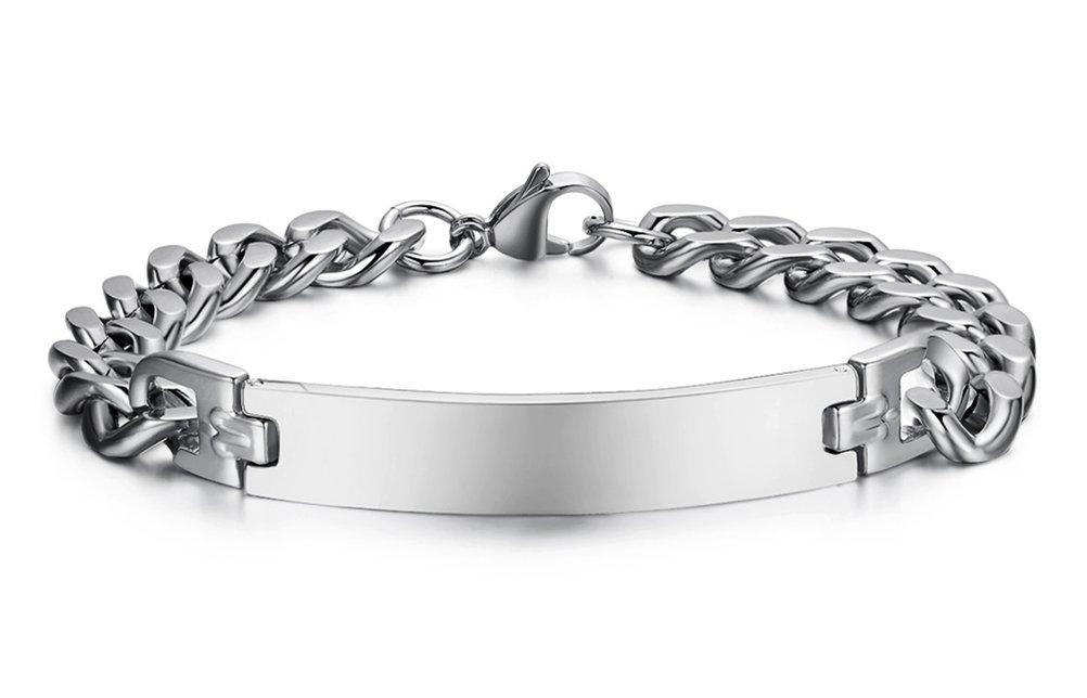 Free Engraving Stainless Steel ID identification Link Bracelet Bangle for Women,Width 8mm,8.4''
