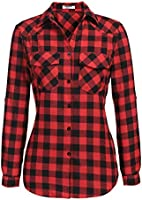 Zeagoo Womens Flannels Long/Roll Up Sleeve Plaid Shirts Cotton Check Gingham Top S-3XL …