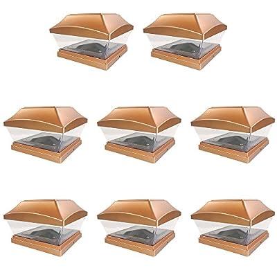 iGlow 8 Pack Copper / White 6 x 6 Solar Post Light SMD LED Deck Cap Square Fence Outdoor Garden Landscape PVC Vinyl Wood