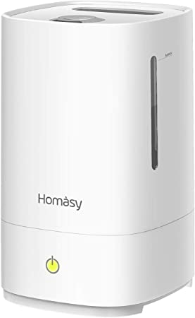 Homasy Cool Mist, 28dB Super Quiet Air, Auto Shut Off Ultrasonic Humidifiers for Bedroom, White, 4.5ml