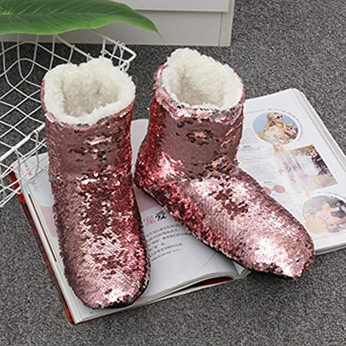 Pantofole E Con Casa La Zlulu Zlululu Comode Da Donna Per Calde Slippers Graziose Uomo Tessuto In Paillettes 7nER1q