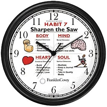 Amazon.com: Habit 7 - Sharpen the Saw (English Text) - Wall Clock ...