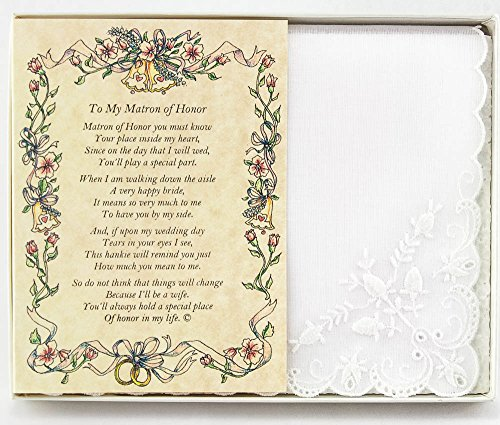 Wedding Handkerchief Poetry Hankie (for Bride's Matron of Honor) White, Lace Embroidered Bridal Keepsake, Beautiful Poem | Long-Lasting Memento for The Bride's Matron of Honor | Includes Gift Box