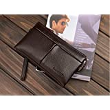 Fashion Trend Casual Genuine Leather Long paragraph Clutch Wallet hand bag For Men Brown QB42B