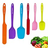 Silicone Spatula - 6 Spatulas Silicone Heat Resistant - Mini Rubber Spatula Set - Cooking Spatulas for Nonstick Cookware - Colorful Baking Kitchen Spatula Set - One Piece Design Spoon - Multicolor