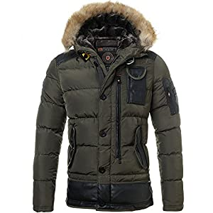 AngelSpace Men Thick Puffer Quilted Casual Hooded Parka Jacket Coat Outwear