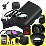 Canon EOS 70D DSLR Camera with 18-55mm STM f/3.5-5.6 Lens LP-E6 Lithium Ion Replacement Battery + 32GB SDHC Class 10 Memory Card + 58mm 3 Piece Filter Kit + Full Size Tripod + 58mm Macro Close Up Kit + 58mm 2x Telephoto Lens + 58mm Wide Angle Lens + Carry