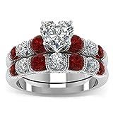 FENDINA Women's Pretty 18K Gold Plated Solitaire Wedding Engagement Ring Set Eternity Love Heart CZ Diamond Princess Promise Rings 8