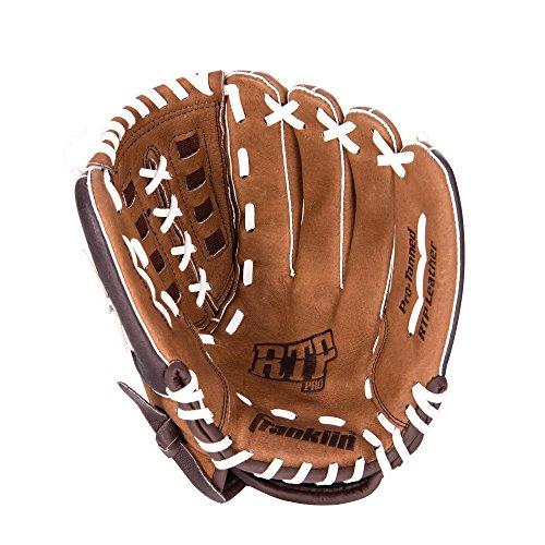 (Franklin Sports RTP Pro Series Pigskin Fielding Left Hand Glove, 12.5-Inch, Brown/Chocolate/White)