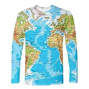 Camiseta de Manga Larga con diseño de mapamundi, para Hombre y Mujer