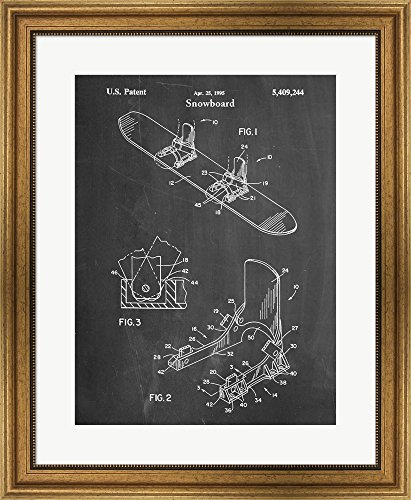 Gold Mens Snowboard Binding - Great Art Now Chalkboard Burton Baseless Binding 1995 Snowboard Patent by Cole Borders Framed Art Print Wall Picture, Wide Gold Frame, 23 x 28 inches