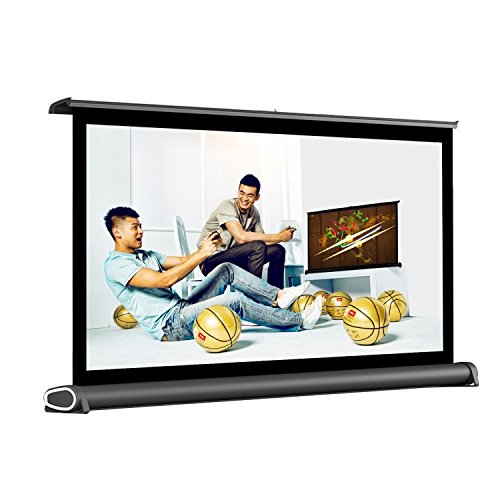 Av Matt White Screen (Owlenz Diagonal Mini Tabletop Portable Projector Screen Conference Office Easy Carry Pull Out Home Cinema Theater Projection 16:9 (H50 Model 50 inch))