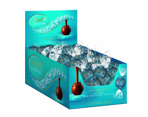 Lindt LINDOR Sea Salt Milk Chocolate Truffles, Kosher, 60 Count Box, 25.4 Ounce
