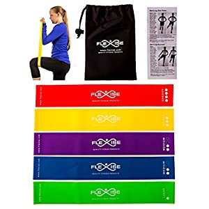 High Quality Exercise Bands By Flexise Fitness: Set of 5 Resistance Loop Bands for Yoga / Pilates / Physical Therapy. Bonus Carry Case & Workout Guide Included.