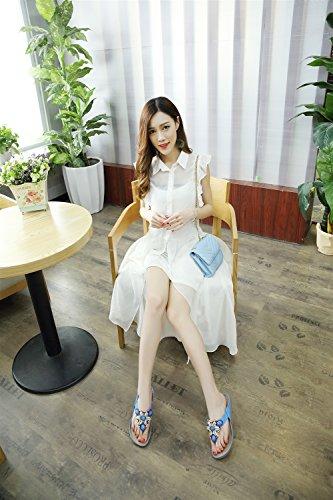 Xiaoqi Delle Accappatoi Per Di Donne Ed Pantofole Con Esterni Nuovi Blu Moda Sandali Boemia Perline Interni Antiscivolo Estate RwS5naxq