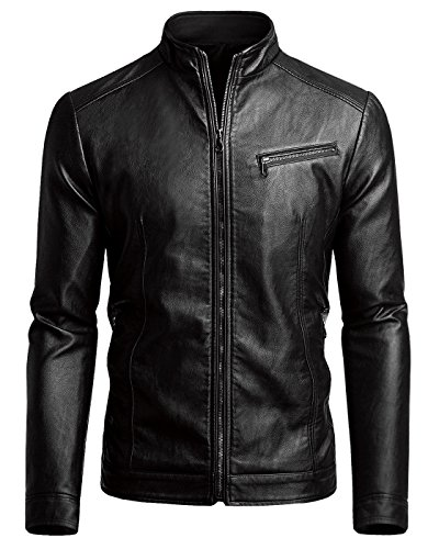 Fairylinks Men's Casual Motorcycle Faux Leather Jacket, Black, Small