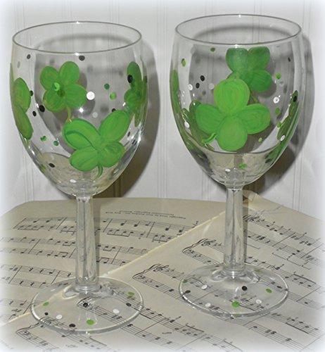Custom Painted Personalized St. Patrick's Day Shamrock Wine Glasses