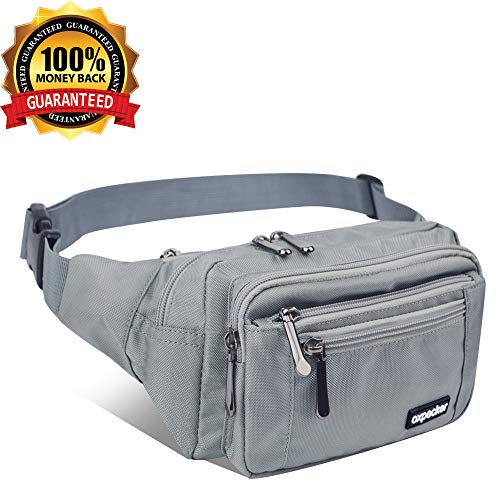 Oxpecker Waist Pack Bag with Rain Cover, Waterproof Fanny Pack for Men&Women, Workout Traveling Casual Running Hiking Cycling, Hip Bum Bag with Adjustable Strap for Outdoors. (Grey)