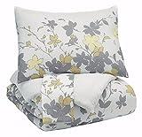 Signature Design by Ashley Q388003Q Maureen 3 Piece Comforter Set, Queen, Gray/Yellow