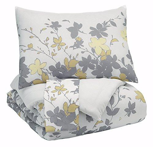 Ashley Furniture Queen Bedding - Signature Design by Ashley Q388003Q Maureen 3 Piece Queen Comforter Set, Gray/Yellow