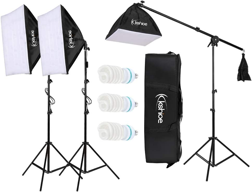Carrying Bag Photography Softbox Lighting Kit 24X24 Professional Photo Studio Soft Box Lights with 86 Light Stand and 65W LED Lamp