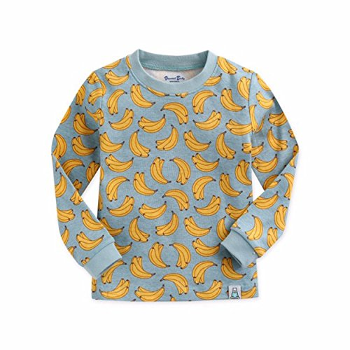 Price comparison product image LAB 301 Toddler Unisex 100% Premium Cotton Longsleeve Pajama Set(12M to 7T) 34_BANANA 12-24M