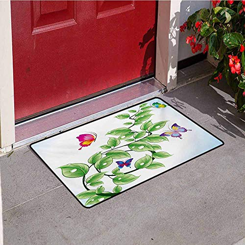 Jinguizi Nature Universal Door mat Floral Theme Branch with Leaves Butterflies and Drops of Water Pattern Door mat Floor Decoration W29.5 x L39.4 Inch Fern Green Pale Blue