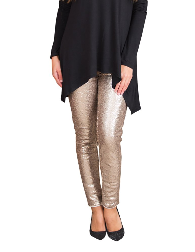 Misassy Womens Sexy Glitter Sequins Leggings Elastic Waist Sparkle Stretch Shiny Tights Dance Pants