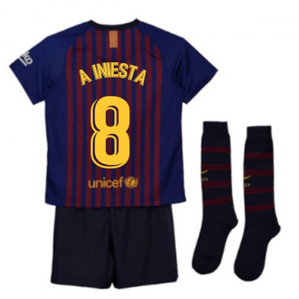 UKSoccershop 2018-2019 Barcelona Home Nike Little Boys Mini Kit (Andres Iniesta 8)