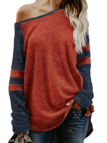 Pullover Knit Top (WD-Amour Women's Cold Shoulder Long Sleeve Sweater Loose Fitting Sexy Knit Pullover Sweater Tops(M,Burgundy))