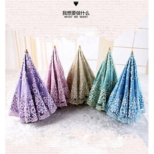 AMYMGLL Parapluie parapluie parapluie ombre dame anti-UV pliant os double tigre dentelle créatif deux parapluie 5 sélection des couleurs