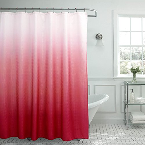 Creative Home Ideas Ombre Textured Shower Curtain with Beaded Rings, Barn Red