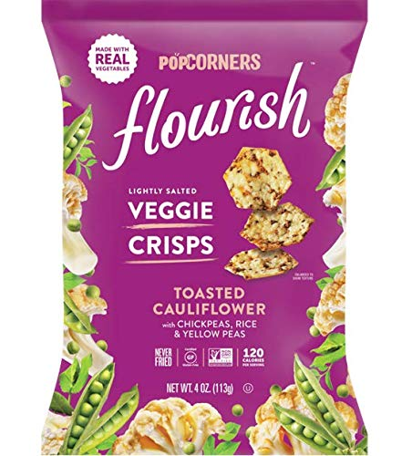 Popcorners Flourish Toasted Cauliflower Veggie Crisps, Plant-Based Protein, Gluten Free Snacks, 12 Pack, 4 oz by Popcorners