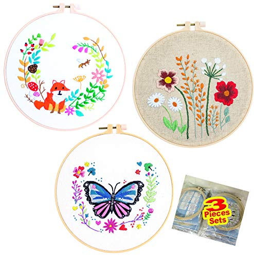 3 Pack Embroidery Kit for Beginners Cross Stitch Kits DIY,A Range of Embroidery Starter Kits with 3 Stamped Embroidery Clothes, 3 Embroidery Hoops, Color Threads for Kids Adults Wall Décor